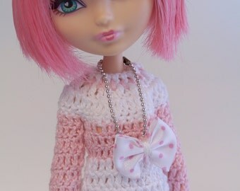 Crochet Jersey for Monster High and Ever After High  (Pink/white)