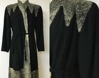1940's Femme Fatale Lambswool Dress Coat