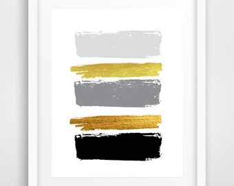 Black brush strokes, abstract art, cool posters, modern minimalist painting, black and gold strokes, modern wall art, scandinavian art