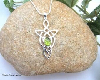 Celtic, elvish, silver and peridot, precious stone necklace, celtic jewelry, elvish jewelry, peridot jewelry, french hand made