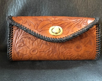 Flowered Woman's wallet - Clutch Purse - Billfold - hand bag - Phoenix Clutch