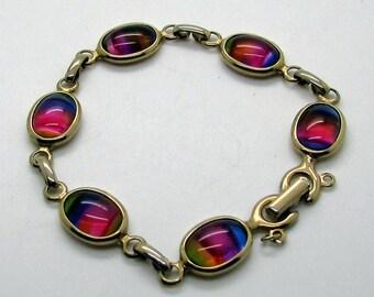 Vintage Sarah Coventry Rainbow Bracelet Iris Iridescent Multi Colour Cabochon Gold Tone Link Harmony Bracelet