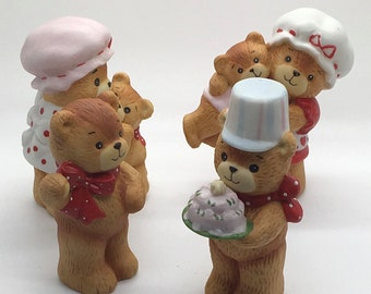 Enesco Lucy And Me Rigg Birthday Teddy Bear Waving Bear Mama Bear Hugging Baby Bear Mama Bear Carrying Baby Teddy Red Bows Hearts Lot Of 4