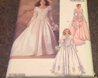 Butterick 5831  Bridal Gowns Bridesmaid's Dress Wedding Dress Floor Length Ball Gown Mother Of Bride New Uncut Size 8 10 12