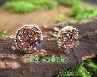 sale silver druzy earrings druzy studs druzy jewelry druzy stud earrings drusy faux druzy earrings druzy stud earring druzy post earrings