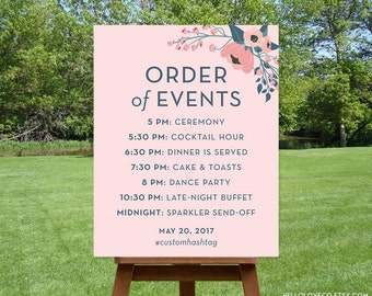 PRINTABLE Wedding Schedule Sign, Custom Wedding Agenda Sign, Blush Pink Floral Wedding Itinerary, Order of Events Sign, DIGITAL