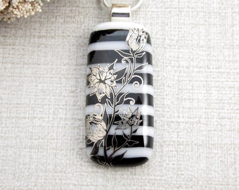 Black and White Flower Necklace - Metallic Flowered Fused Glass Pendant - Black and White Striped Fused Glass Flowered Pendant