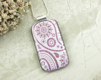 Pink and White Paisley Pendant - Fused Dichroic Glass Paisley Jewelry