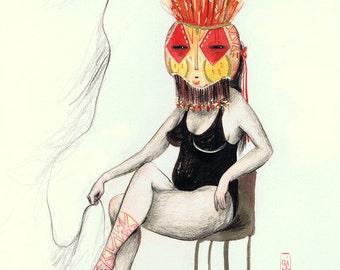 """Original drawing """"Masked"""""""