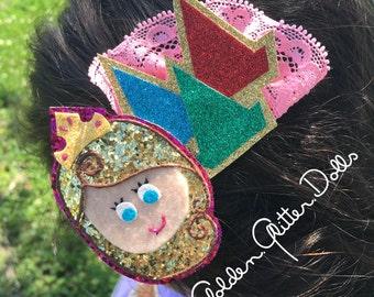 Disney Princess Sleeping Beauty Inspired Glitter Hair Clip