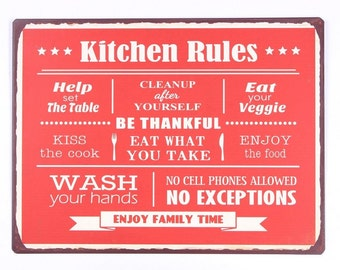 Metal sign Wall decor Wall decoration Kitchen Rules