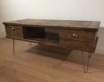 Reclaimed Pine TV Stand With 2 Drawers Solid Wood Metal Hairpin Legs