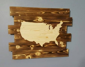 United States of America Wall Art, USA, American Flag, United States Decor, Wood burning Wall Art