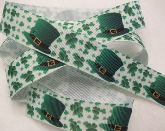 St. Patrick's Day Shamrock and Top Hat Ribbon 7/8""