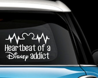 Heartbeat of a Disney Addict - Car Decal - Mickey Decal - Disney Car Decal