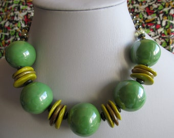 Adria necklace with apple green ceramic beads