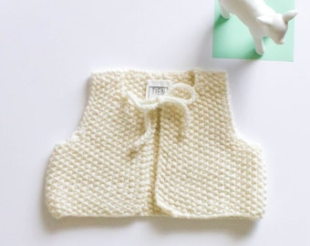 50% OFF | Hand Knitted Baby Vest, Sleeveless Baby Vest, Merino Wool Baby Clothes, Baby Knitted Clothes, Baby Sweater Vest, Woolen Baby Knit