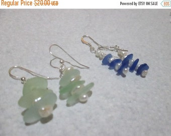 ON SALE Petite Genuine Sea Glass Dangle Earring with fresh water pearls on sterling silver