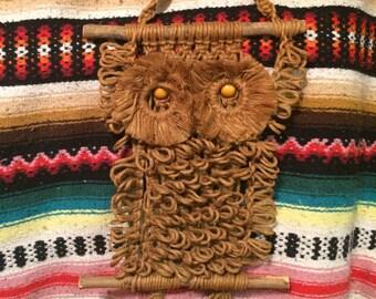 Vintage 1970s macramé owl wall hanging