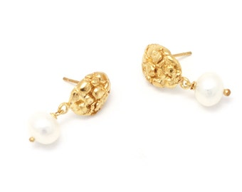 bridal earrings gold and pearl earrings - 18k gold earrings - gold plated earrings - gold dangle earrings - bridal jewelry