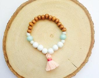 Baby Bracelet, Baby Jewelry, Tassel Bracelet, Baby Shower Gift, Blessing Bracelet, Baby Gift, Baby Bracelet Gold--Wood, Mint, Peach, White