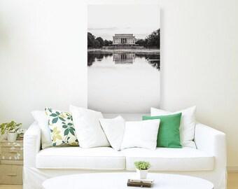 Lincoln Memorial, Canvas Print, Paper Print, Washington DC Photography, Washington DC Art, Black and White, Home Decor, Office Decor