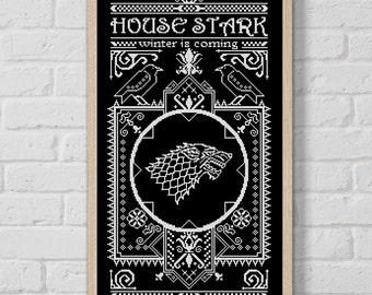 BOGO SALE, Cross stitch pattern, House Stark, Game of Thrones, Cross-stitch PDF, Instant Download, Needlework, Embroidery, Digital #093