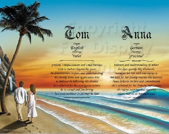 Couple Walking on the Beach Scene Double Name Meaning Print
