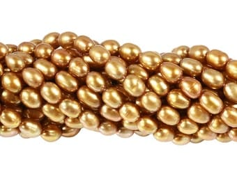 15 1/2 IN Strand 4-4.5 mm Freshwater Pearl Rice Shaped Bronze Color (FRCBRZ0045)