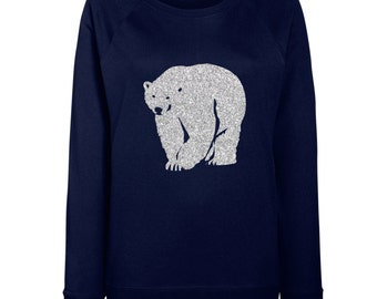 Womens Polar Bear Glittery Christmas Jumper / Sweatshirt