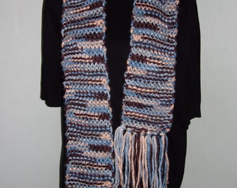 Hand Knitted Brown and Blue Scarf