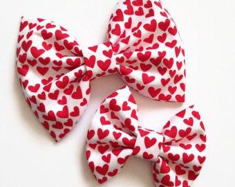 Valentines Baby Bow - Red Hearts Hair Bow - Fabric Hair Bow - Red Hair Bow - Valentine's Hair Bow - Nylon Headband - Hearts Hair Bow