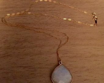Large moonstone pendant on 14kt gold filled chain