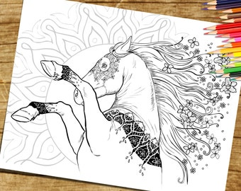 Adult Coloring Page From Book For Adults Horse Equine Art Colouring