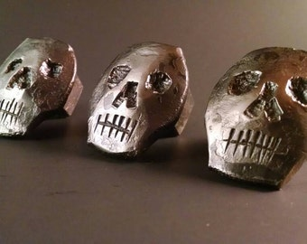 Railroad spike skull drawer knobs/ pulls