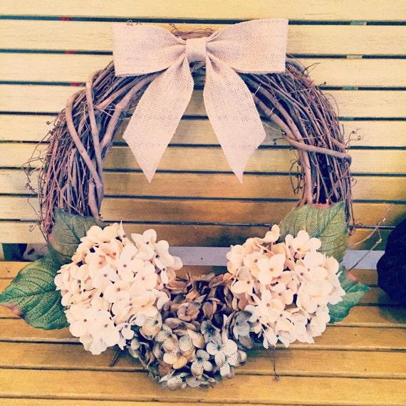Grapevine wreath, home decor, hydrangea wreath, front door wreath, house warming gift