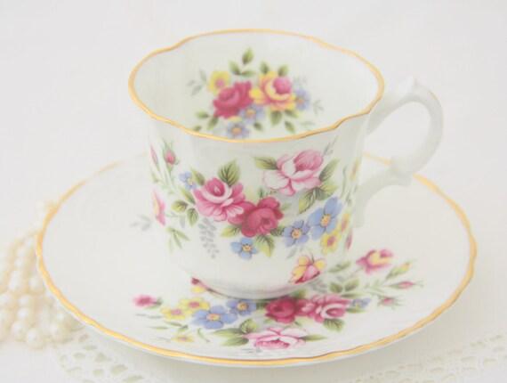 Vintage Oakley Porcelain Cup and Saucer, Flower Pattern, England