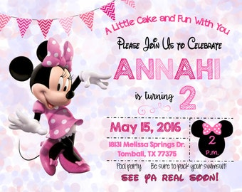 Minnie Mouse 2nd Birthday Party Invitation - Printable File