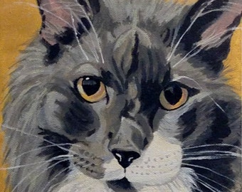 Pet Portrait, Custom Pet Portrait, Pet Painting, Cat Painting, Pet Lover Gift in Acrylics, From Photograph, Memorial Pet Portrait