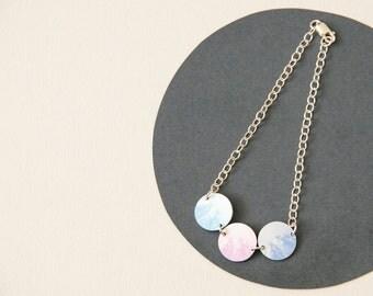 Reversible Mountain Bracelet - Mountain Landscape Bracelet - 3 small circles on Sterling Silver chain