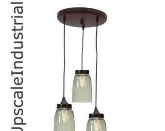 Mason Jar Chandelier/Mason Jar Light/Country Home Decor/Kitchen Island/Mason Jar Decor/Pendant Light /Pendant Lighting/Industrial Lighting