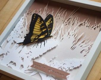 Yellow Swallowtail Butterfly Papercut (framed shadowbox nursery decor)