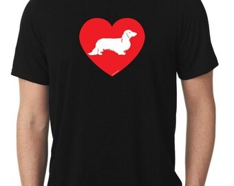 Love Dachshund T-Shirt longhaired wiener dog T106