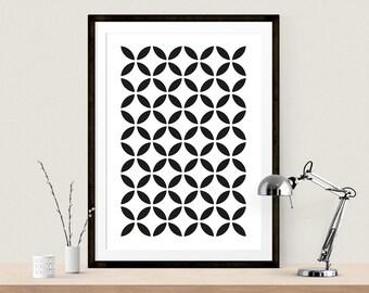 Geometric Circle Print Geometric Prints Scandinavian Print Scandinavian Art Mid Century Art