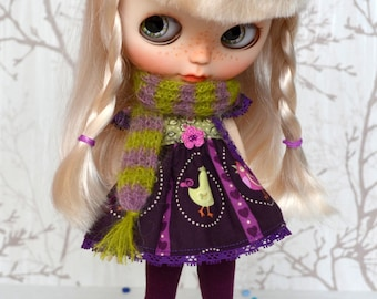 Blythe doll outfit - Blythe Dress Scarf Leggings, Clothes 1/6 doll.