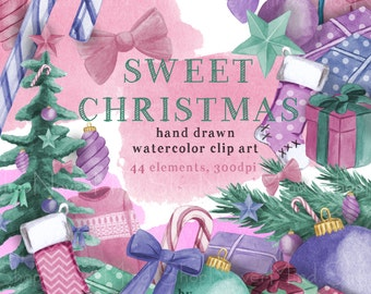 Christmas clip art set Sweet watercolor christmas clipart christmas tree stocking gifts star ornament bow candycane cute christmas elements