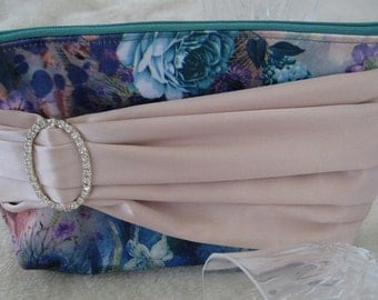 Ladies Clutch, Evening Purse, Diamante Evening Bag, Wedding Accessories, Bridal Clutch, Teal, Blush and Diamante, Clutch
