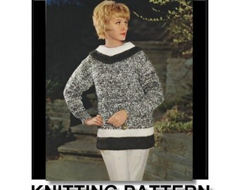 PATTERN, knit sweater pattern, women's pattern, vintage knitting pattern, sweater pattern, pullover,