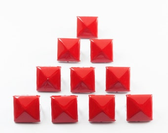Free shipping - 50 pieces Red Pyramid Stud For Leather Craft, bag purse, belt, Decoration - KIV.28