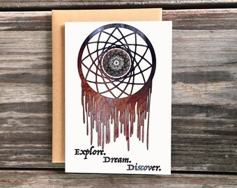 Dreamcatcher Art Greeting Card, explore dream discover cards